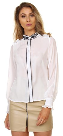 Fashion Union White/Navy Embillished Blouse  - Click to view a larger image