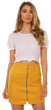 Influence Mustard Suede Mini Skirt  - Click to view a larger image