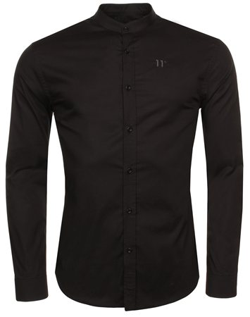 11degrees Black Grandad Shirt  - Click to view a larger image