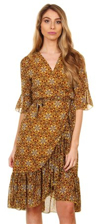 Style London Yellow Tulip Hem Dress  - Click to view a larger image