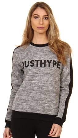 Hype Grey Black Crewneck Sweat  - Click to view a larger image