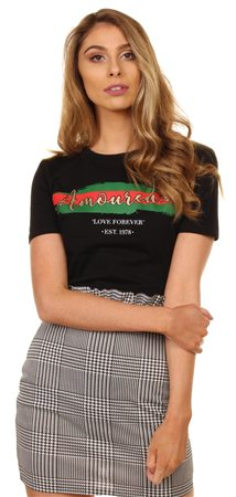 Missi Lond Black Amoureux Tee  - Click to view a larger image
