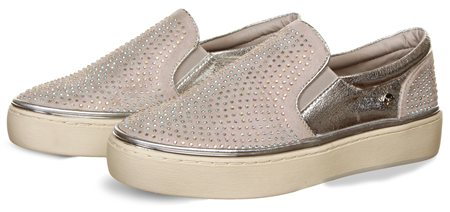 Xti Grey/Silver Diamonte Slip On Shoe  - Click to view a larger image