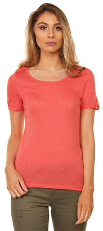 Vila Spiced Coral Lace Top  - Click to view a larger image