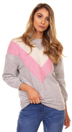 Influence Grey Marl Chevron Fur Sweater  - Click to view a larger image
