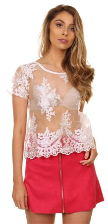 Qed White Lace Top  - Click to view a larger image