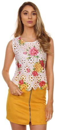 Qed White Multi Rose Print Vest  - Click to view a larger image