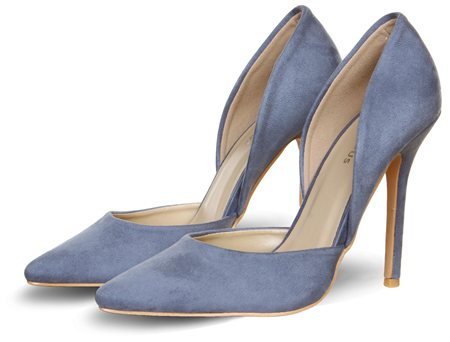 Glamorous Blue Hi Heel Court Shoe  - Click to view a larger image