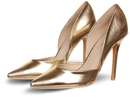 Glamorous Rose Gold Hi Heel Court Shoe  - Click to view a larger image