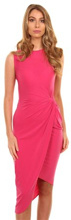 Wal/G Fuschia Crepe Twist Dress  - Click to view a larger image