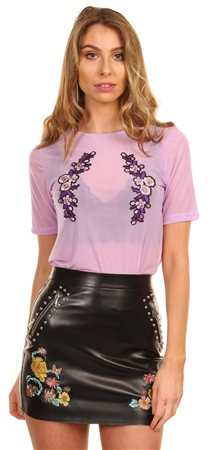 Cutie London Lilac Mesh Top  - Click to view a larger image