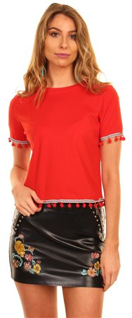Brave Soul Red Cropped Tee  - Click to view a larger image