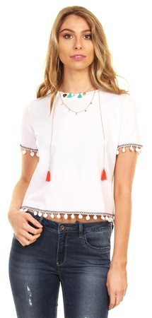 Brave Soul White Cropped Tee  - Click to view a larger image