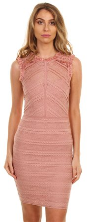 Lipsy Baked Pink Lace Ruffle Dress  - Click to view a larger image
