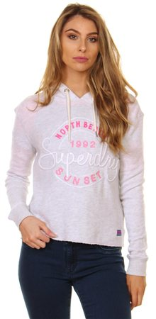 Superdry Ice Marl Applique Crop Hoodie  - Click to view a larger image
