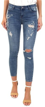 Gemini Authentic Blue Laurie Pearl Cluster Skinny Jean  - Click to view a larger image