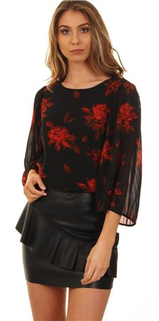 Vila Black /Red Elana Floral Short Sleeve Top  - Click to view a larger image