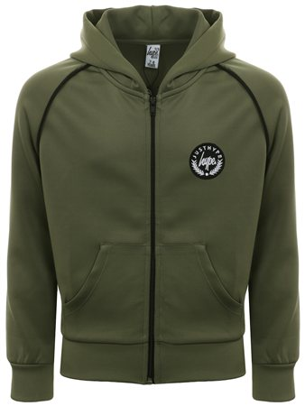 Hype Khaki/Black Crest Piping Track Top  - Click to view a larger image