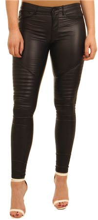 Only Black+r Leather Look Trousers  - Click to view a larger image