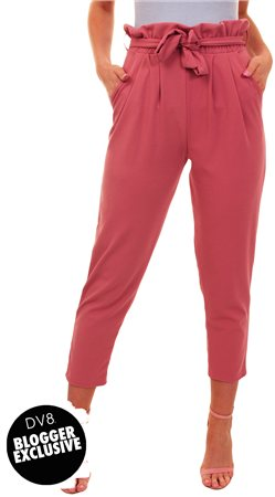 Missi Lond Pink Frill Waist Trousers  - Click to view a larger image