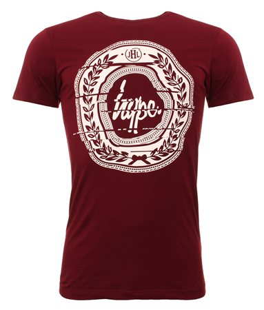 Hype Burgandy Printed Tee  - Click to view a larger image
