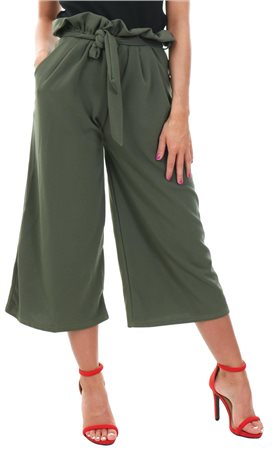 Missi Lond Khaki Wide Leg Trouser  - Click to view a larger image