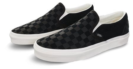 c2d41f8bff33 Vans Black Mashmallow Checker Emboss Classic Slip-On Shoes