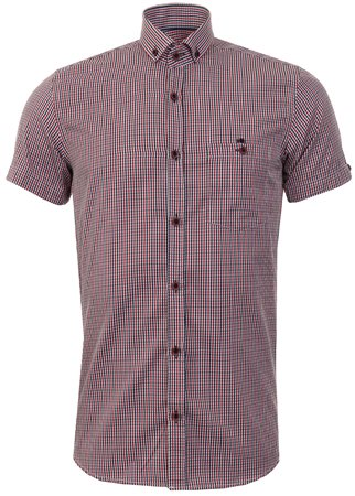 Ottomoda Burgandy Check Shirt  - Click to view a larger image