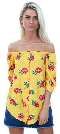 fe8ecb6645975d Influence Yellow Floral Print Bardot Top     Shop the latest fashion ...