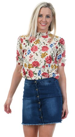 Fashion Union Beige Jay Floral Print Top  - Click to view a larger image