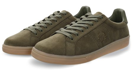 Fred Perry Burnt Olive B721 Microfibre Shoe  - Click to view a larger image