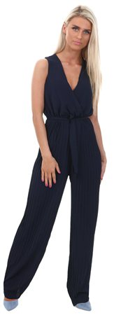 Wal/G Navy Pleated Tie Waist Jumpsuit  - Click to view a larger image