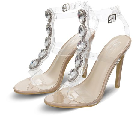 No Doubt Nude Stiletto Jewel Perspex Heels  - Click to view a larger image