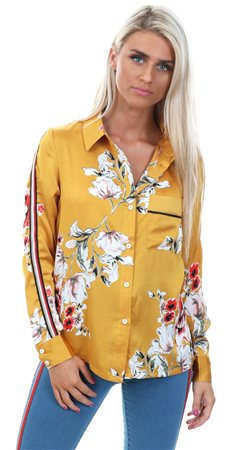 Style London Mustard Floral Stripe Shirt  - Click to view a larger image