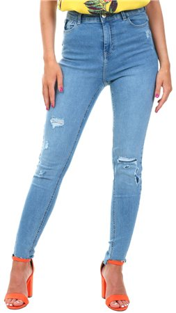 Urban Bliss Light Denim Kerrie Ripped Skinny Jean  - Click to view a larger image