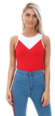 9b648957d9d8 Glamorous Red/White Sport Panel Bodysuit | | Shop the latest fashion ...