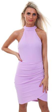 Ax Paris Lilac High Neck Ruffle Mini Dress  - Click to view a larger image