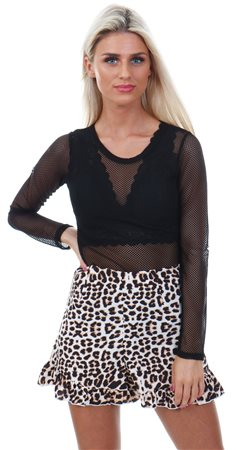 Influence Multi Leopard Print Ruffle Hem Short  - Click to view a larger image