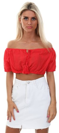 Qed Red Bardot Tie Tassle Elasticated Crop Top  - Click to view a larger image