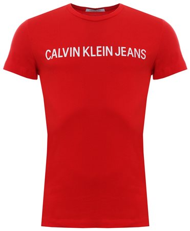 Calvin Klein Tomato Red Slim Organic Cotton T-Shirt  - Click to view a larger image