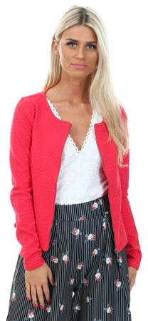 Vila Red / Tomato Puree Vinaja - Zip Up Cardigan  - Click to view a larger image