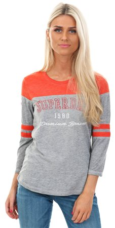 Superdry Scorched Red/Blaze Grey Low Tide Baseball Top  - Click to view a larger image
