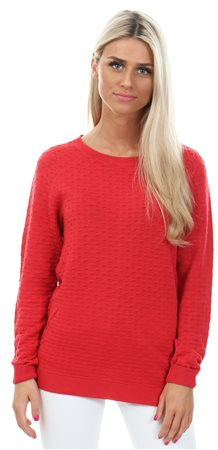Vila Red / Tomato Puree Simple Knitted Top  - Click to view a larger image