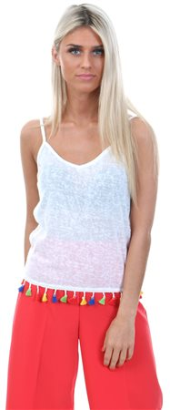 d1be3cd5eab Brave Soul Cream Strappy Pom Pom Vest - Click to view a larger image