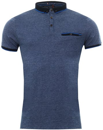 Le Shark Vespa Blue Windsor Jacquard Jersey Polo Shirt  - Click to view a larger image