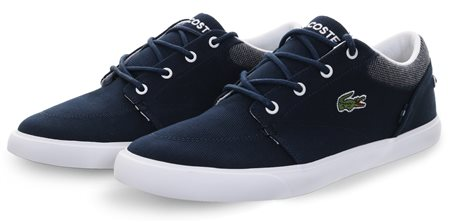 9c4877a040f230 Lacoste Navy   White Bayliss Canvas Trainers - Click to view a larger image