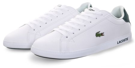 743b1eeab67165 Lacoste White Graduate Leather Trainers - Click to view a larger image