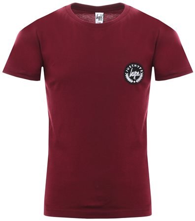 Hype Burgundy Basic Script Crest T-Shirt  - Click to view a larger image