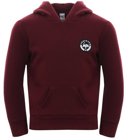 Hype Burgundy Basic Script Crest Pullover Hoodie  - Click to view a larger image