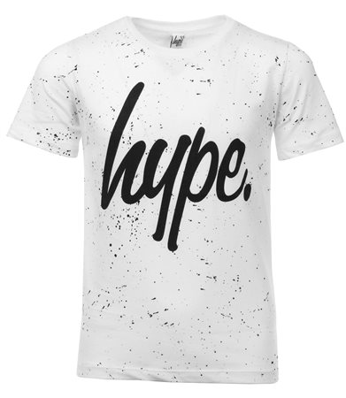 Hype White / Black Aop Speckled Script T-Shirt  - Click to view a larger image